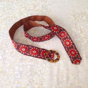 Vintage Belt Floral Ribbon Tortoise Shell Buckle